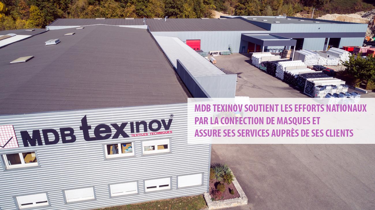 COVID-19 : MDB Texinov soutient les efforts nationaux par la confection de masques et assure ses services auprès de ses clients